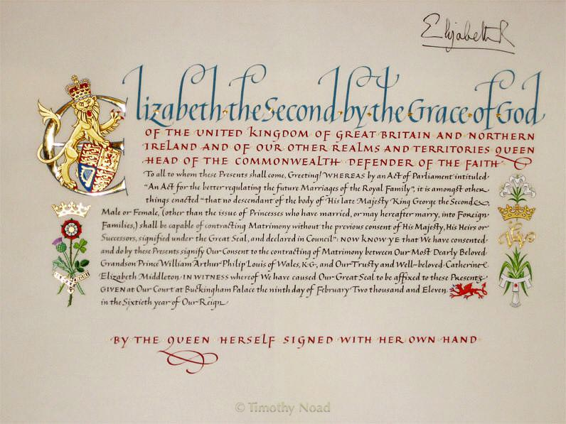 Royal Marriage Consent royal charters