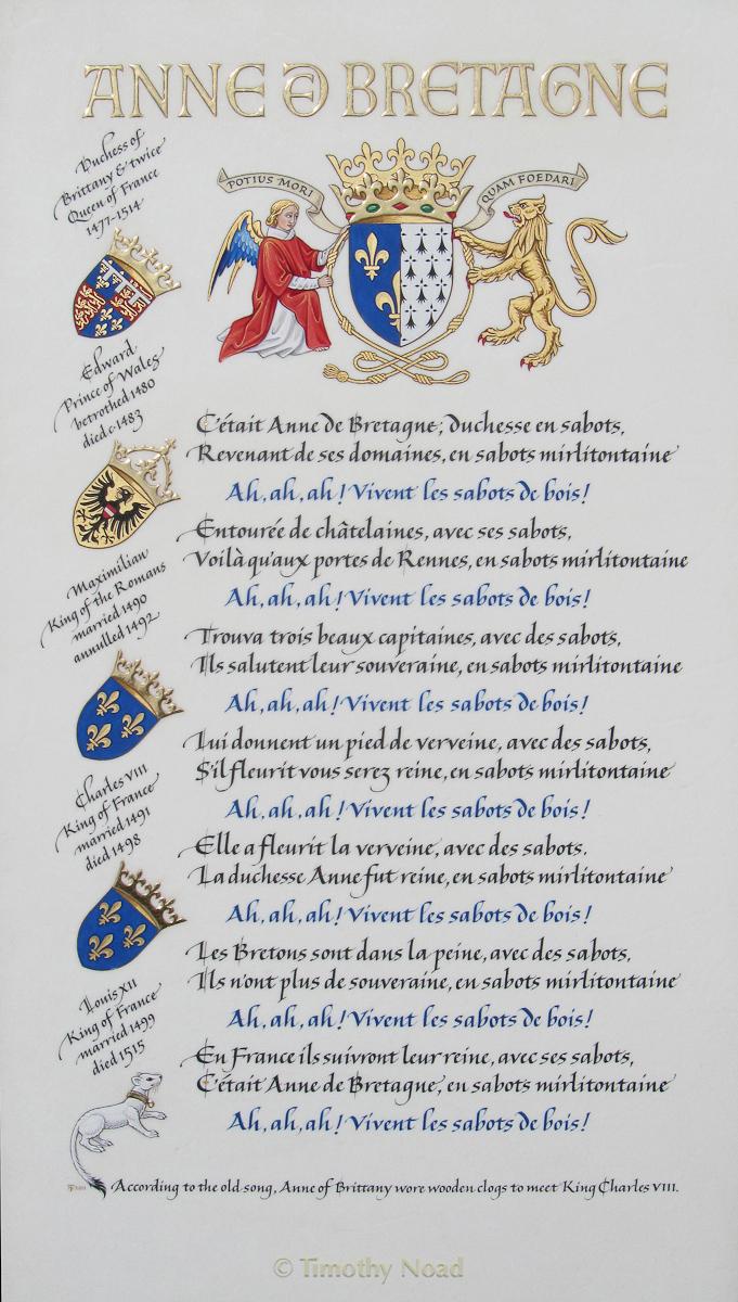 Anne de Bretagne calligraphy