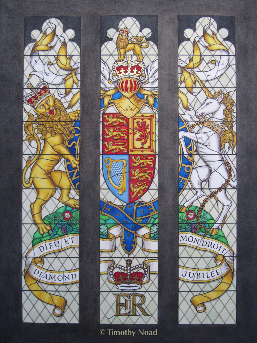 Rothschild Royal Arms in the Diamond Jubilee Window at Westminster Hall heraldry