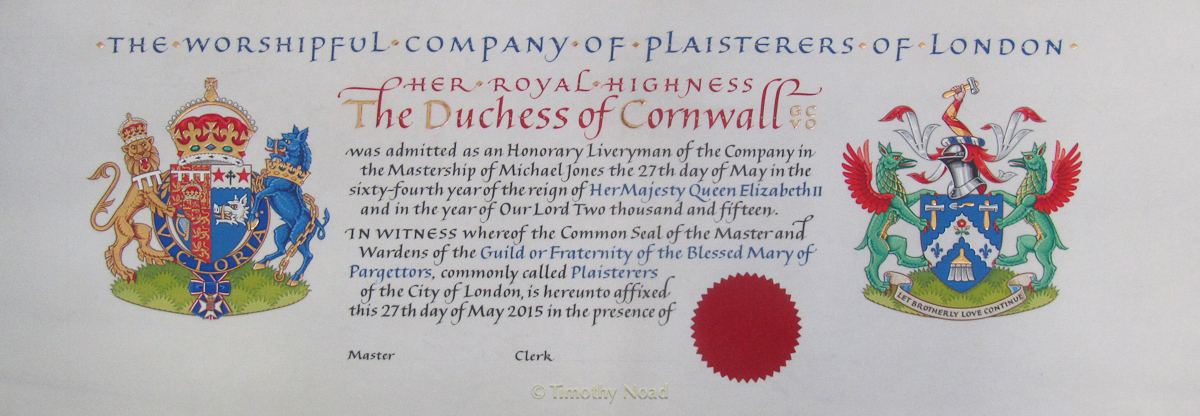 Duchess of Cornwall an Honorary Liveryman of the Plaisterers' Company heraldry